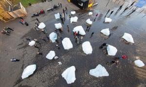 Hear it pop … melting ice in London.