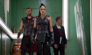 Tessa Thompson, centre, as Valkyrie in Thor: Ragnarok, with Chris Hemsworth and Mark Ruffalo.