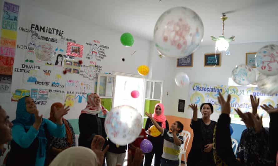 A party at Amal, a centre for unmarried mothers in Tunis.