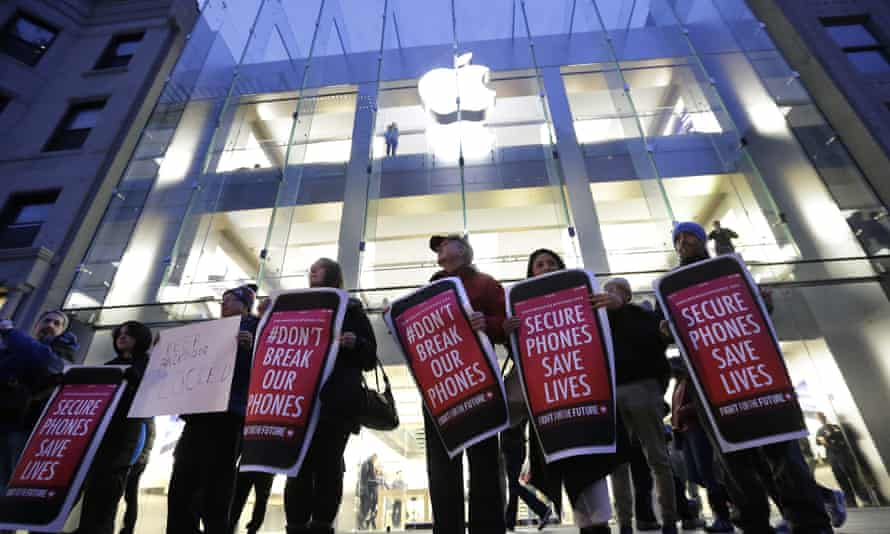 Anti-Apple protesters in Boston. 'The government is building a database on millions of people in the United States, even if they don't know it,' Zwillinger said during a prior surveillance case.