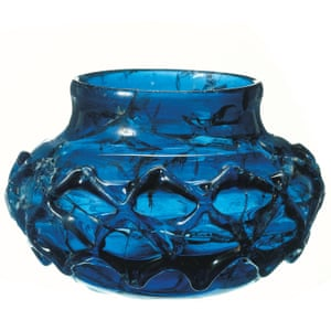 One of two rare blue glass decorated beakers