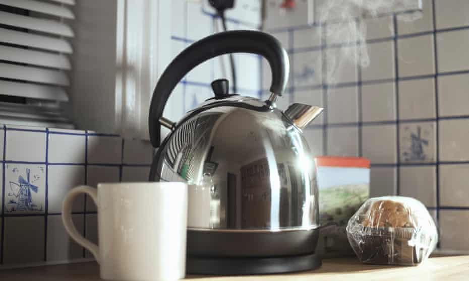 An electric kettle boils.