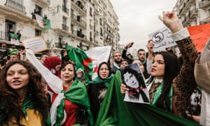 Algerians gather in central Algiers to protest against President Abdelaziz Bouteflika's decision to seek a fifth term.