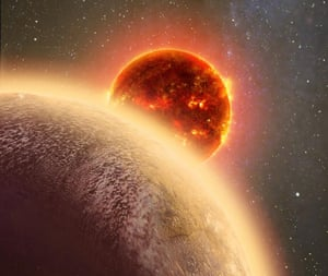 In this artist's conception GJ 1132b, a rocky planet very similar to Earth in size and mass, circles a red dwarf star.