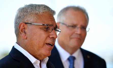 The Liberal candidate for Gilmore, Warren Mundine, with the prime minister, Scott Morrison.