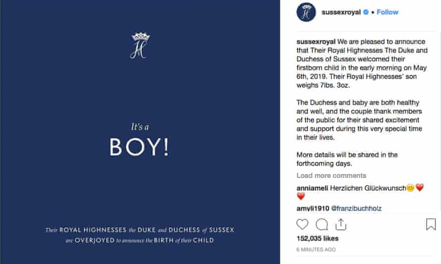 The announcement on Instagram of the birth of the Duke and Duchess of Sussex's first child