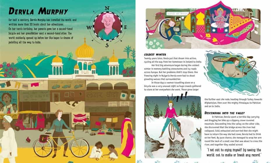 Alastair Humphreys' Great Adventurers, double-page spread from book.