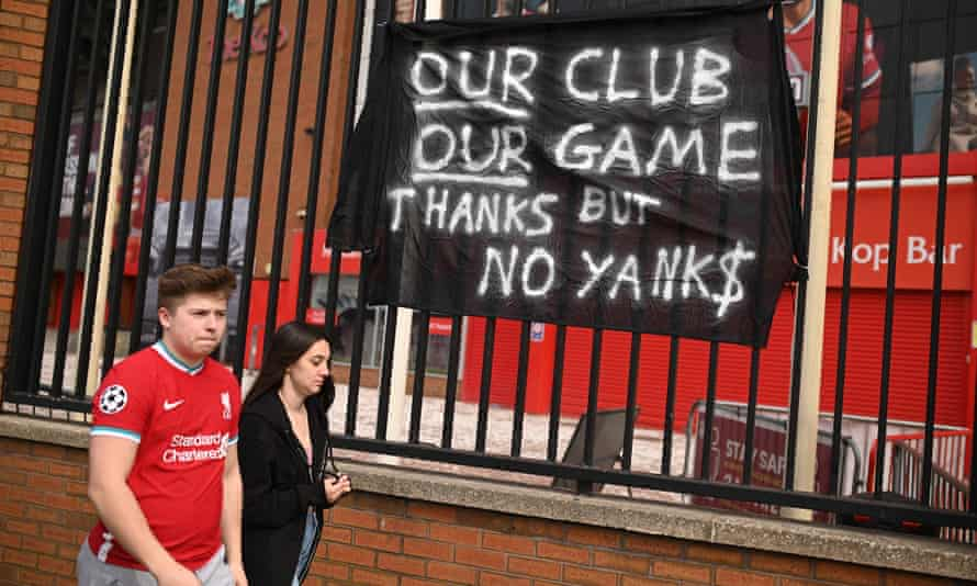 Liverpool's supporters protest against the club's involvement in the controversial European Super League
