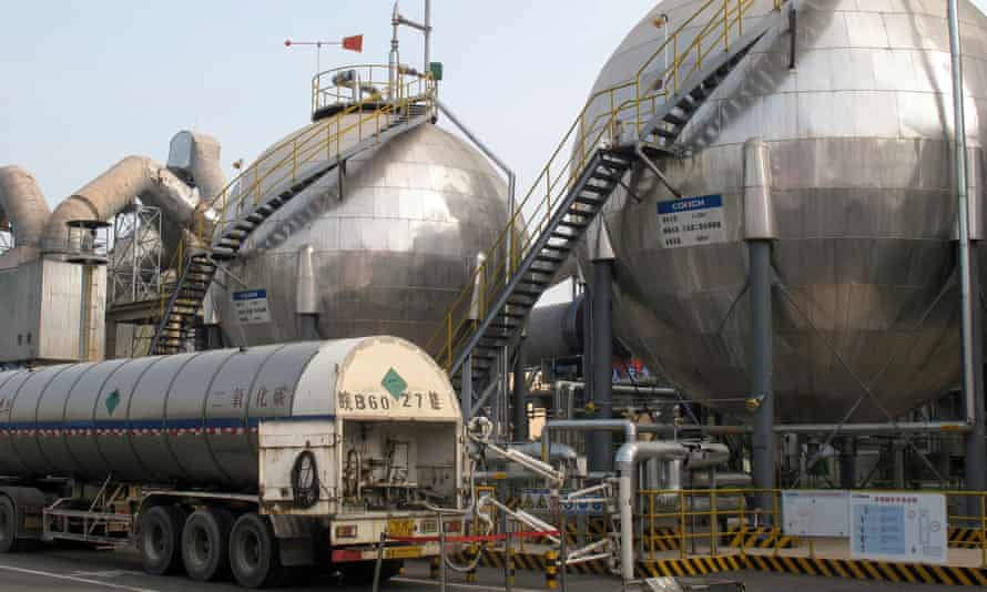 Carbon dioxide storage tanks at a cement plant and carbon capture facility in Wuhu, Anhui province, China.