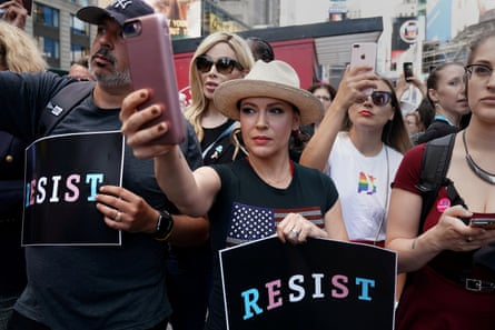 Alyssa Milano attending a protest in Times Square earlier this year.