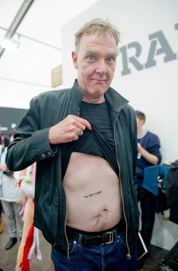 Adrian Searle shows off his David Shrigley tattoo at the Frieze art fair in 2010.