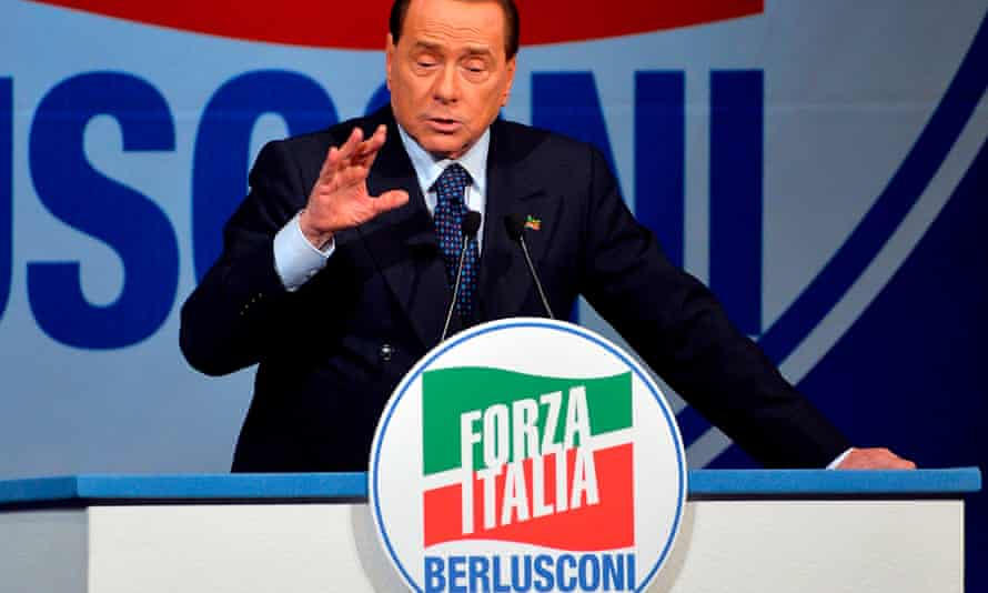 Silvio Berlusconi during a rally for the centre-right Forza Italia.