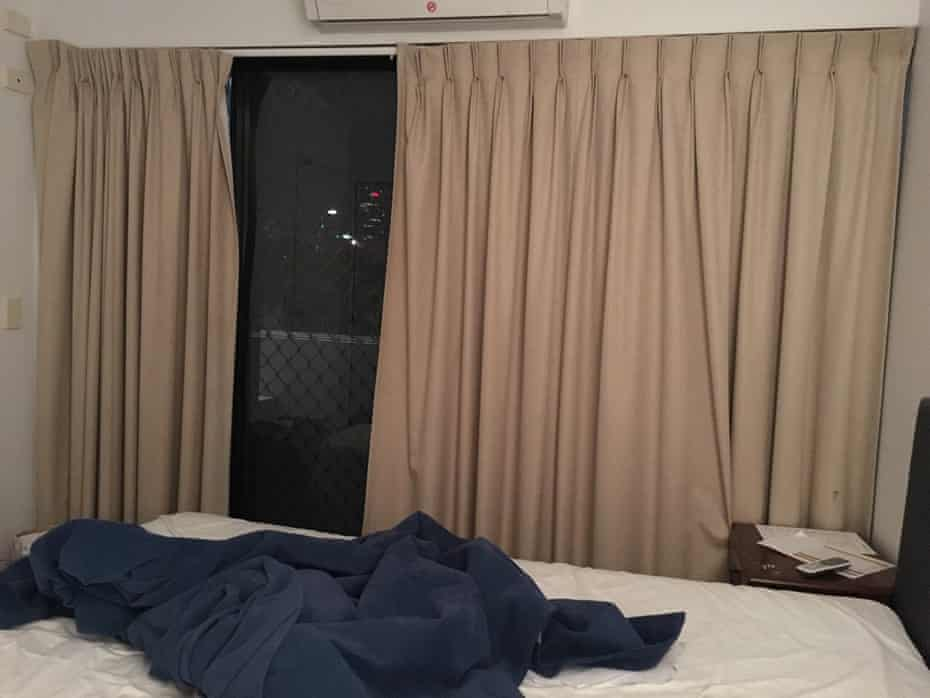 A Brisbane hotel room where a refugee is being held for medical reasons.