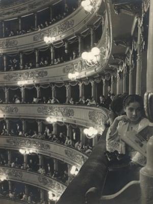 Milanese society at the gala premiere of Rimsky-Korsakov's opera The Legend of the Invisible City of Kitezh at La Scala (1933).
