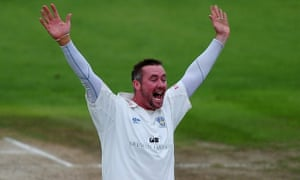Ian Blackwell celebrates a Lancashire wicket while playing for Durham in 2010