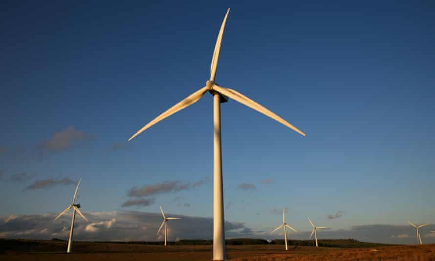 Turbines on Green Rigg wind farm, Northumberland.