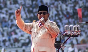 Prabowo Subianto holds a campaign at Bung Karno stadium in Jakarta.