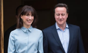 David Cameron with his wife Samantha after voting at a polling station in Oxfordshire