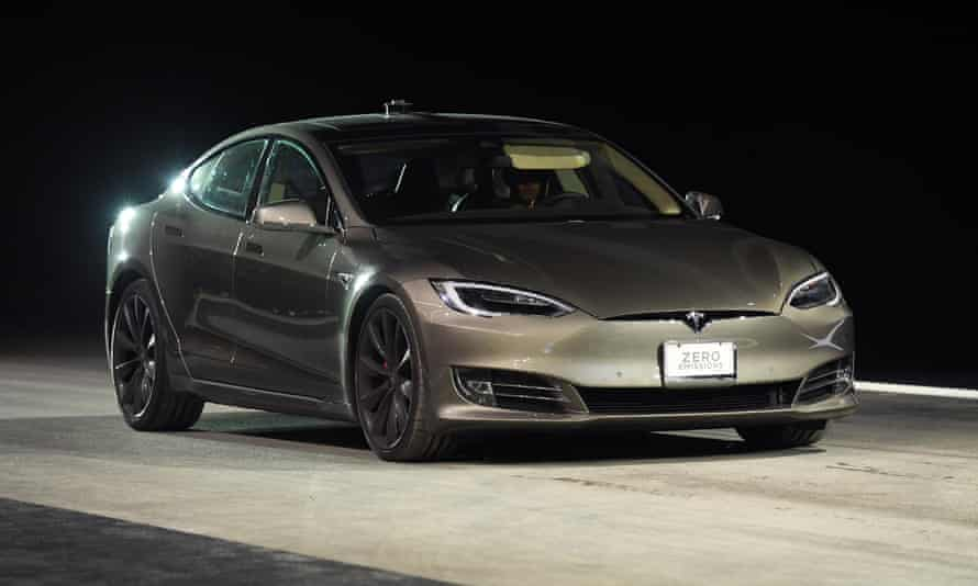A Tesla Model S P100D during a speed test in Las Vegas, Nevada.