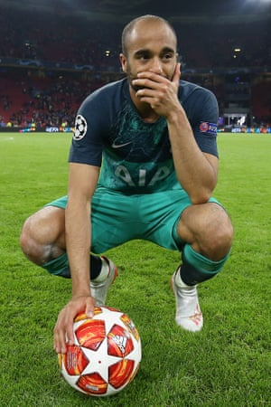 Hat-trick hero Lucas Moura clutches the match ball as the emotions of the evening sink in
