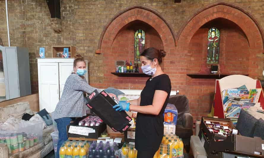 Volunteers working at a foodbank in Earlsfield, south London