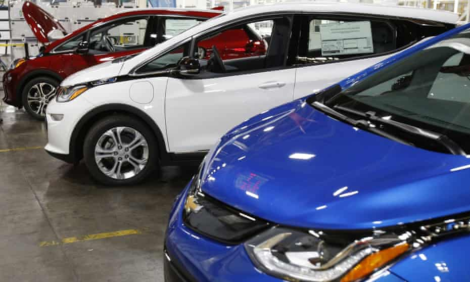 Several Chevrolet Bolt electric vehicles at the General Motors Orion Assembly plant in Orion Township, Mich. Automakers have the technology needed to meet the fuel efficiency standards set by the Obama administration, but they argue that American consumers are instead demanding gas guzzlers.
