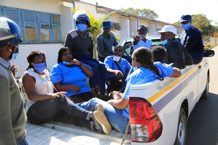 Nurses in Harare earlier this year arrested by police after protesting to to demand a salary increase.