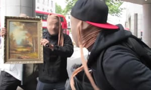 The group pretended they were robbing high-value artworks as they ran amok.