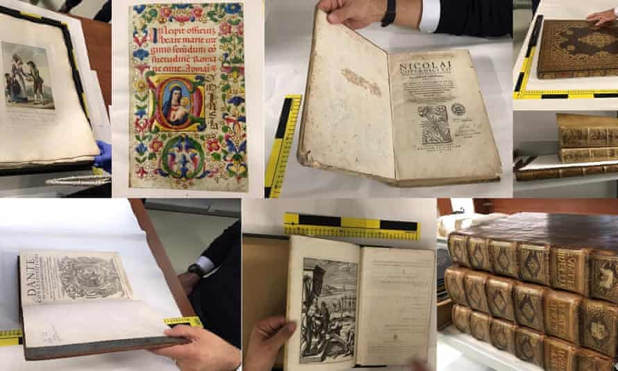 Some of the stolen books recovered this month by UK and Romanian police after the 'Mission Impossible' £2.5m heist.