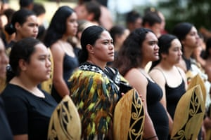 The kapa haka group prepares for the delegation's arrival