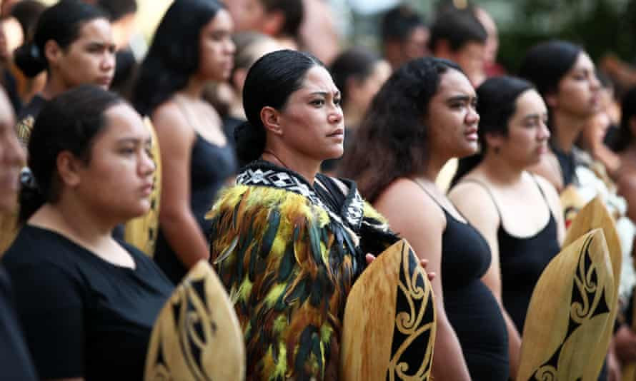 The kapa haka group prepare for the arrival of a delegation including Prime Minister Jacinda Ardern at the upper Treaty grounds Te Whare Runanga on February 04, 2020 in Waitangi, New Zealand.