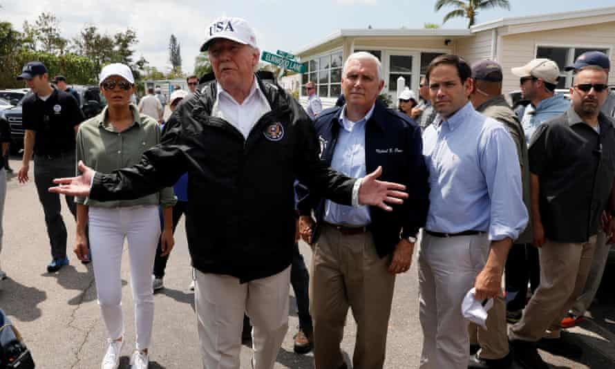 Donald Trump and first lady Melania Trump are accompanied by Mike Pence and Senator Marco Rubio in Naples, Florida.