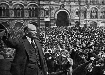 Reshaping order … Lenin addresses a crowd in Red Square, Moscow, in 1919.