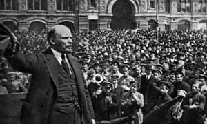 Vladimir Lenin addresses the crowd in Red Square in 1919.