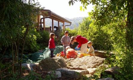 kids playing at Camping Lindenhof, Bern, Switzerland