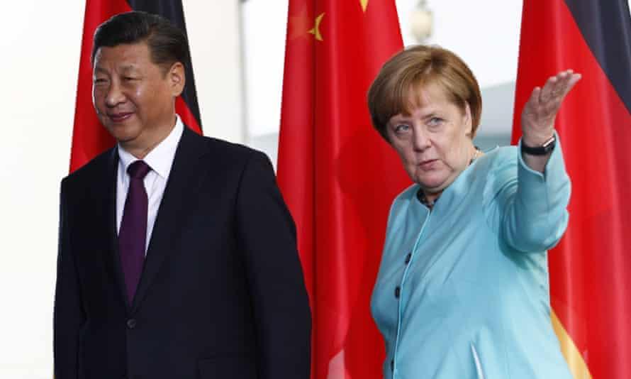 Xi Jinping and Angela Merkel in Berlin