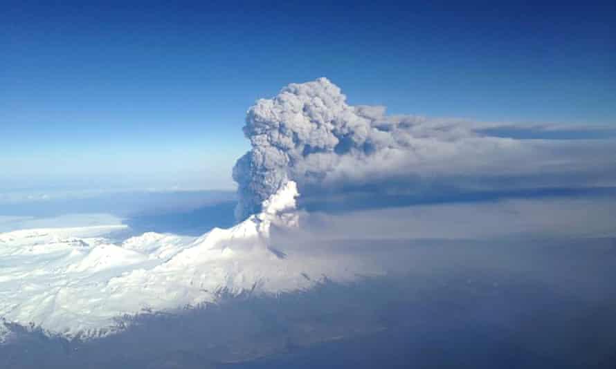 The Pavlof volcano spews ash in the Aleutian Islands of Alaska on Monday.