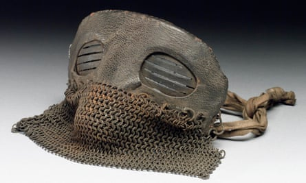 Protective mask made from leather and chain mail, worn by tank crews, probably British, in 1917-18.
