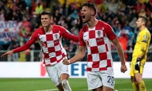 Bruno Petkovic celebrates after giving Croatia a 2-1 lead over Slovakia in Rijeka.
