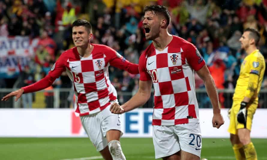 Bruno Petkovic celebrates after giving Croatia a 2-1 lead over Slovakia in Rijeka.