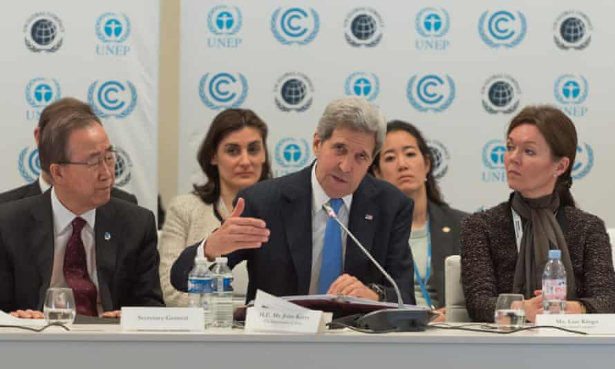 John Kerry delivers remarks at the Caring for Climate Business Forum during the COP 21 talks.