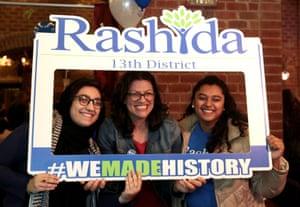 Democratic U.S. congressional candidate Rashida Tlaib (C) celebrates at her midterm election night party in Detroit, Michigan, U.S