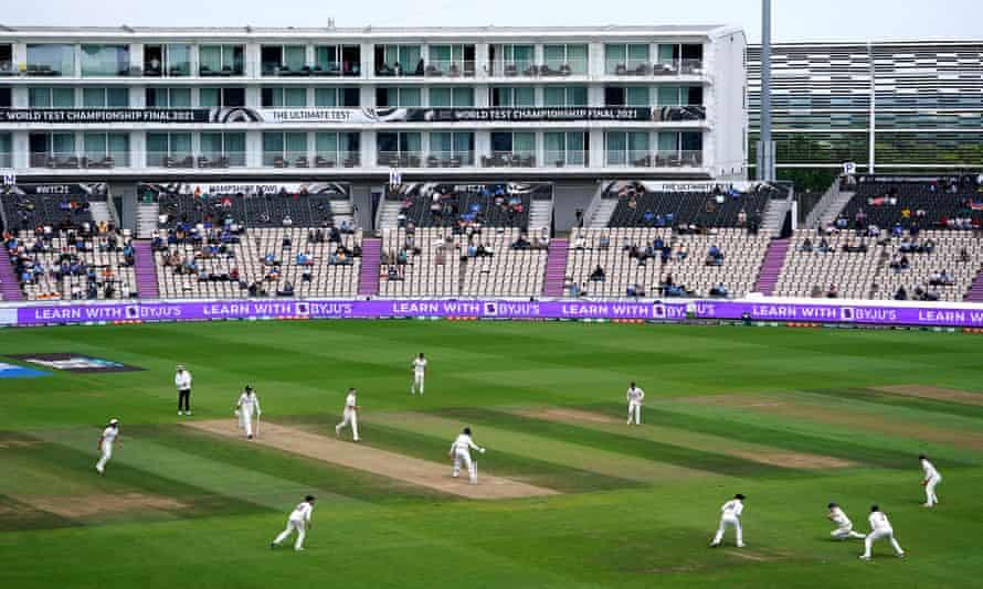New Zealand's Tom Latham catches India's Jasprit Bumrah.