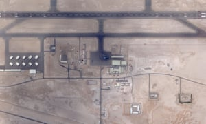 This satellite image shows a C-17 plane in the centre, on the runway in UAE's secretive Qusahwira airbase.