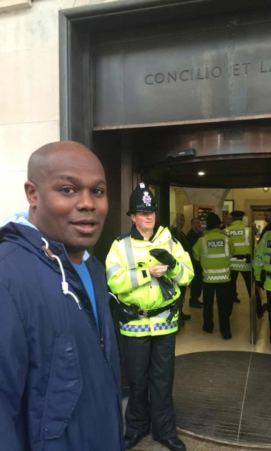 Student Anthony Johnson was not allowed access to the central library after officers saw him talking to the homeless protesters. Greater Manchester police later said it was 'a misunderstanding' and let him in