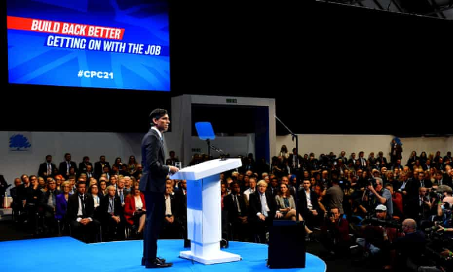 Rishi Sunak delivers his speech at the Conservative party conference on Monday.