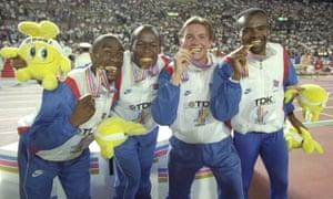 Derek Redmond, John Regis, Roger Black and Kriss Akabusi after being awarded their gold medals.