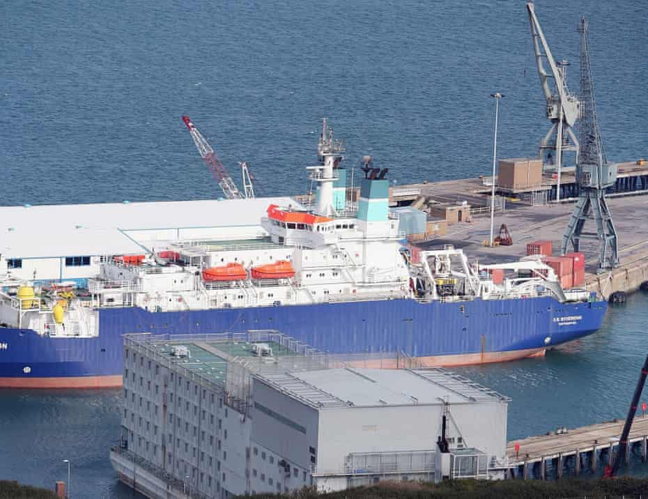 The 'floating prison' HMP Weare in Portland harbour