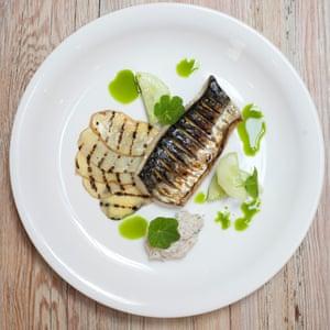 Mackerel with ratte potatoes cucumber nasturtium.