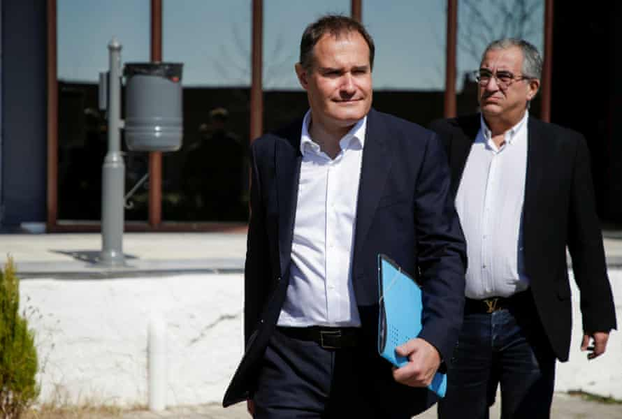 Fabrice Leggeri, Frontex executive director, is pictured (left) near the Greek-Turkish border in Orestiada, Greece on 12 March 2020.